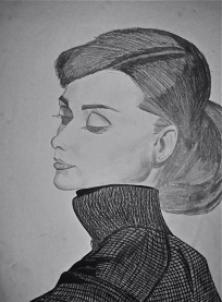 Audrey Hepburn Graphite and Charcoal Portrait