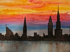 New York City Sunset Watercolor Painting