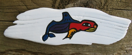 Pacific Northwest Native American Stylized Whale Painting on River Wood