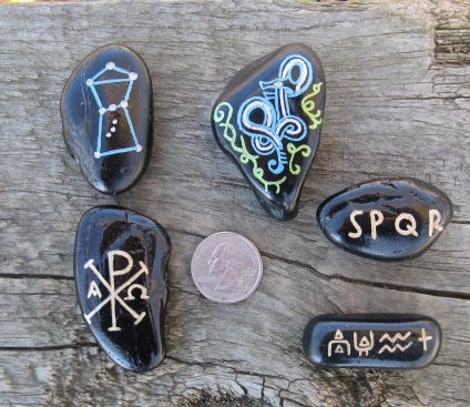 Orion, Viking Stone, Roman SPQR, Chi Rho, Cuneiform Symbols (from top left to right) Artist: J.R. Goslant